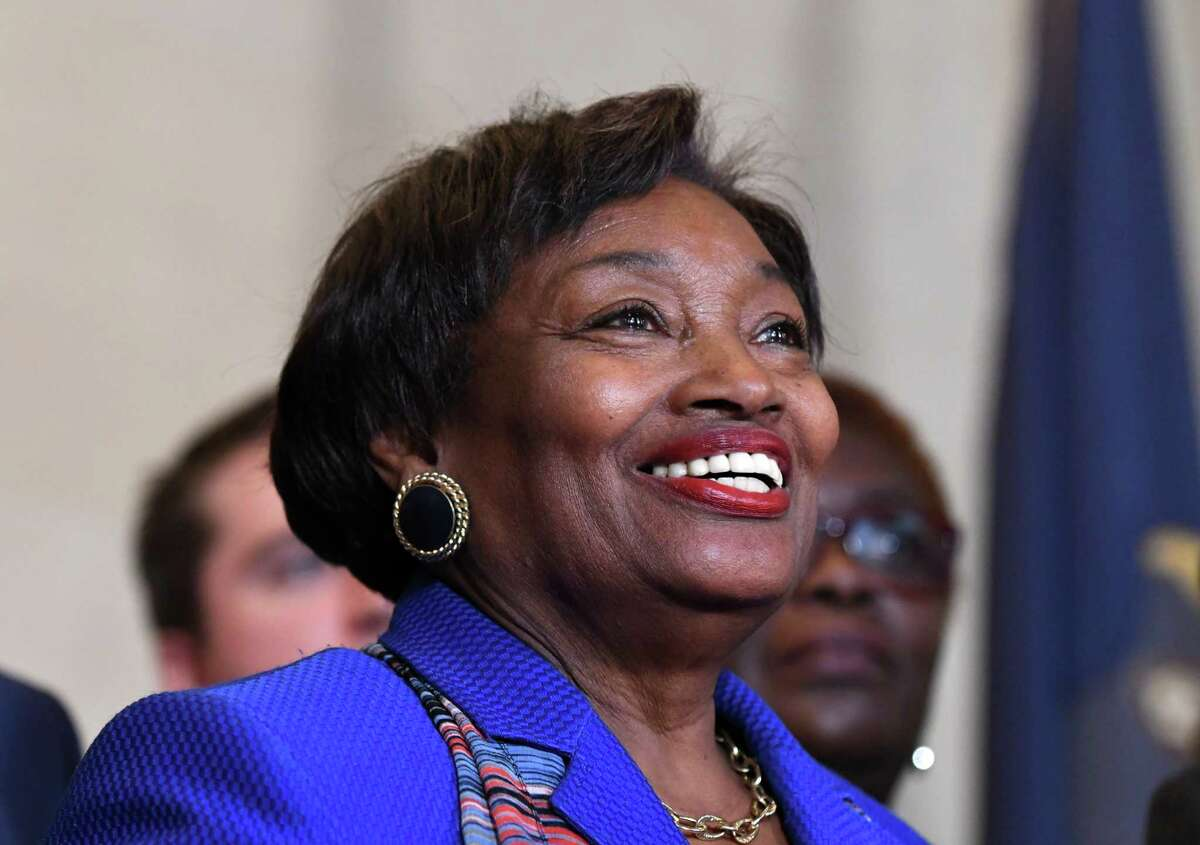 Senator Andrea Stewart-Cousins speaks during a news conference after being named as state Senate majority leader on Monday, Nov. 26, 2018, at the Capitol in Albany, N.Y. She is the first female majority leader in either house of the state legislature. (Will Waldron/Times Union)