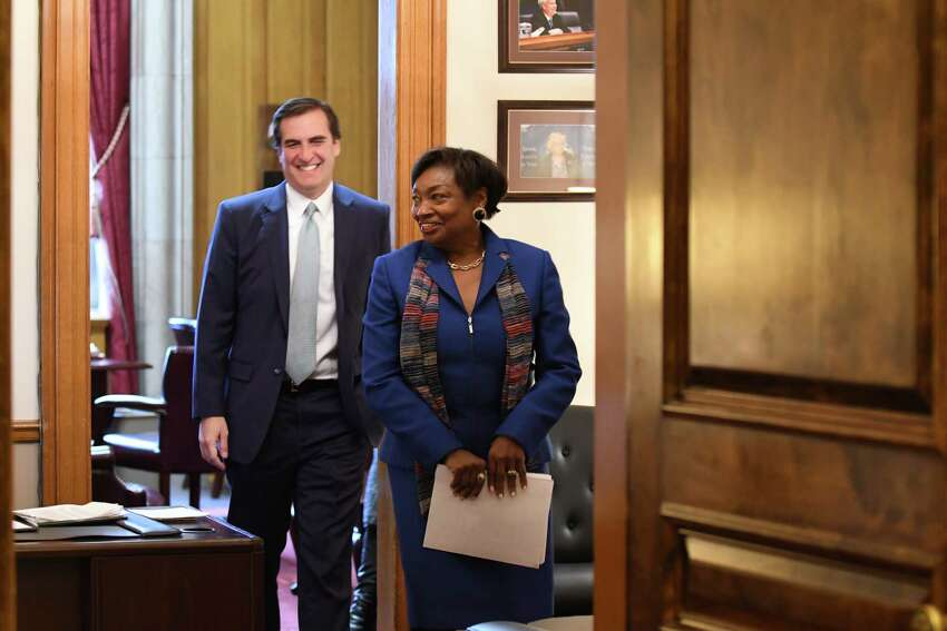 Senator Andrea Stewart-Cousins leaves the state Senate Democratic offices with Sen. Michael Gianaris, her new deputy, after being named as state Senate majority leader on Monday, Nov. 26, 2018, at the Capitol in Albany, N.Y. She is the first female majority leader in either house of the state legislature. (Will Waldron/Times Union)
