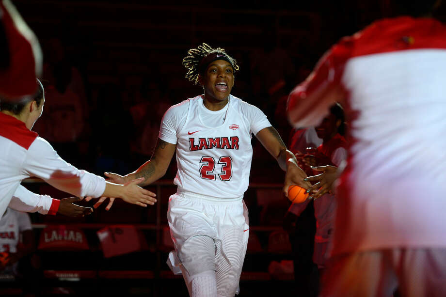 Lamar guard Moe Kinard is introduced with the starting lineup before the home opener against St. Thomas on Wednesday evening. Photo taken Wednesday 11/16/16 Ryan Pelham/The Enterprise Photo: Ryan Pelham