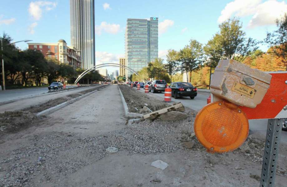 Recently poured concrete in a construction area at Hidalgo along Post Oak on Nov. 23, where crews are widening the street for dedicated bus lanes and making sidewalk improvements. Photo: Steve Gonzales, Houston Chronicle / Staff Photographer / © 2018 Houston Chronicle
