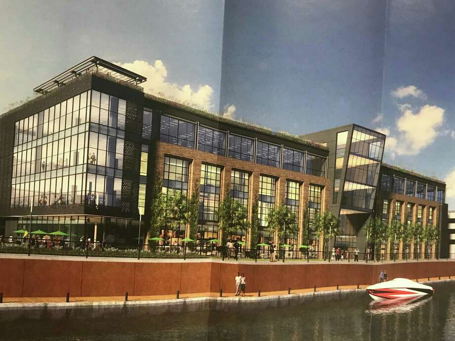 "Rendering of the proposed ""media village"" to be built atop existing light industrial space at 860 Canal St., part of a three-building campus of office buildings. Photo: Barry Lytton / Hearst Connecticut Media / Stamford Advocate"