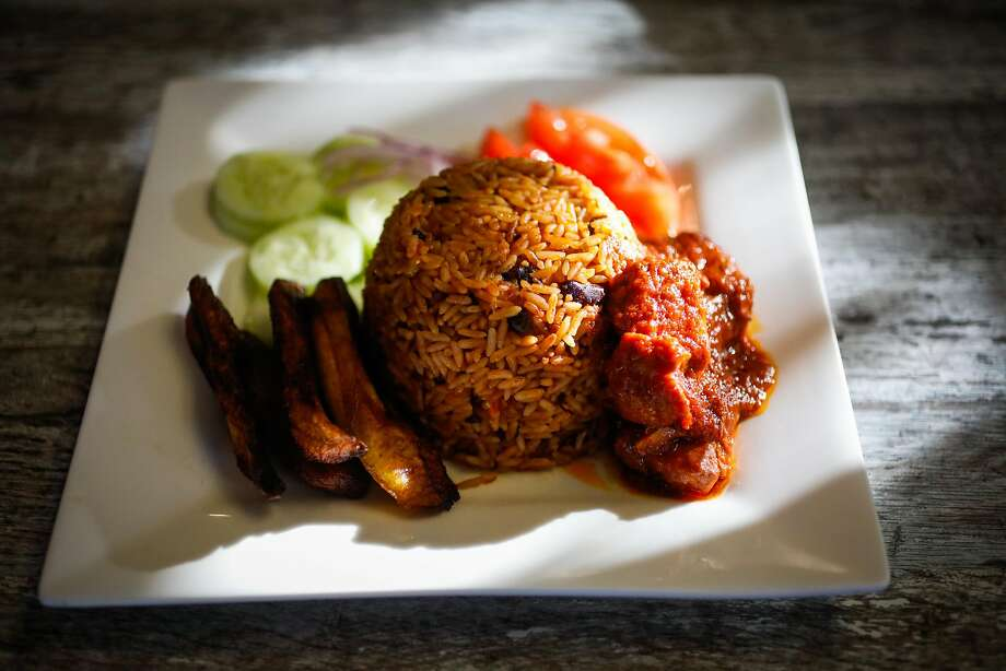 The jollof rice dish, rice cooked with peppers and spices, at Kendejah in San Leandro, the Bay Area's only Liberian restaurant. Photo: Gabrielle Lurie / The Chronicle