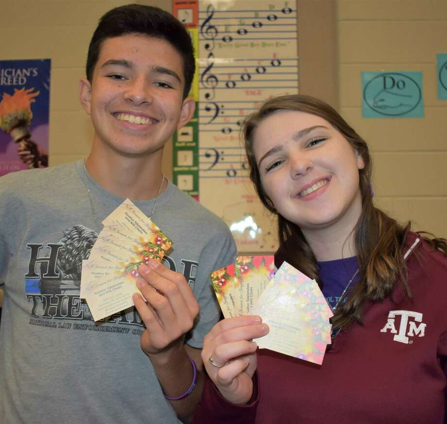 Needville High School seniors and Varsity Mixed Choir members Christopher Villarreal and Evalynn Tween want to remind folks that tickets are still available for the annual Christmas concert with the Houston Tidelanders Barbershop Chorus. Photo: Needville ISD / Needville ISD