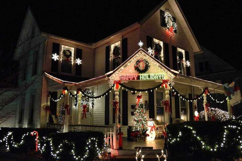 A past winner of Ansonia's holiday decorating competition, at 209 Wakelee Ave. Photo: Contributed Photo