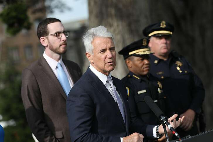 District Attorney George Gascon speaks during a press conference  at Alamo Square Park about a new bill to close a loophole in prosecuting automobile break-ins  on Monday, November 26, 2018 in San Francisco, Calif.