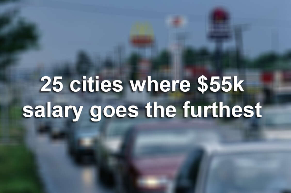 25 cities where $55k salary goes the furthest