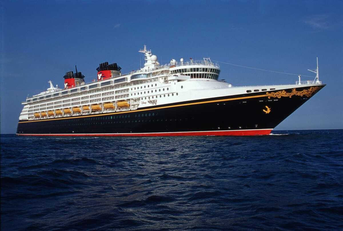 The Disney Wonder transatlantic ocean liner features a contemporary design.