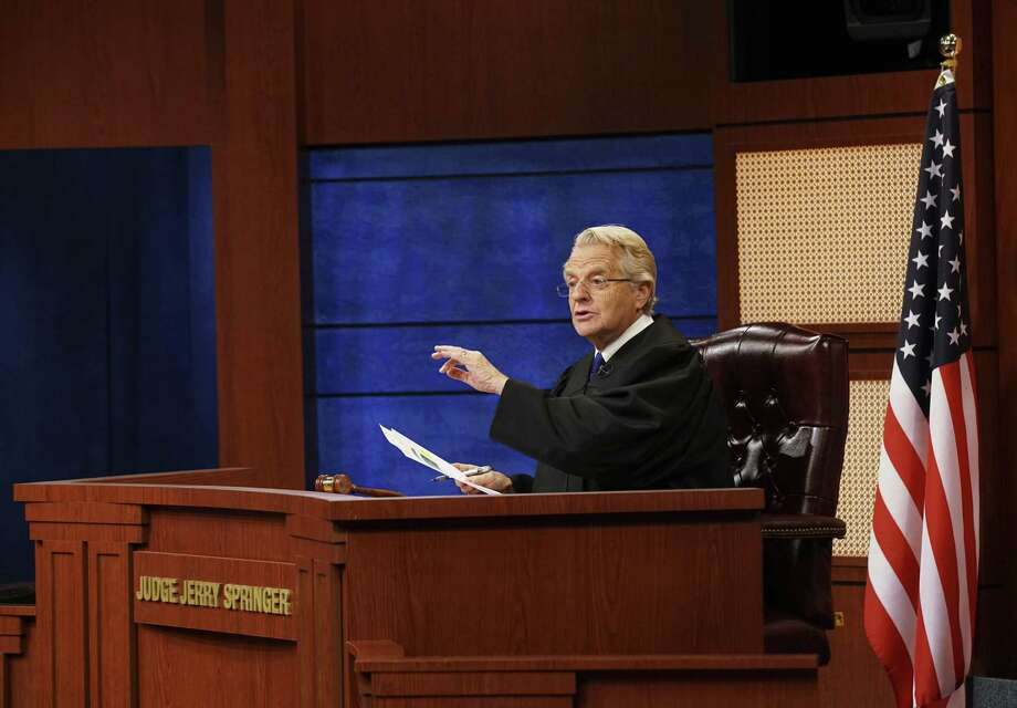 """An undated image provided by NBC shows Jerry Springer in a scene from """"Judge Jerry."""" NBC Universal Television Distribution on Monday, Nov. 26, 2018, announced the court program where Springer will hear testimony and render verdicts before a studio audience, debuting in national syndication in the fall of 2019. Photo: Bennett Raglin / Associated Press / BENNETT RAGLIN"""