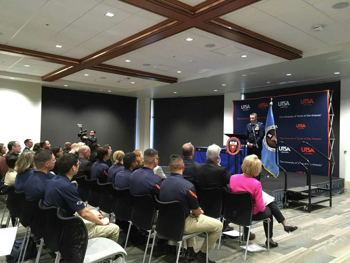 National Security Agency in Texas Commander Col. Gregory Gagnon speaks at the University of Texas at San Antonio's downtown campus on Monday, Nov. 26, 2018.