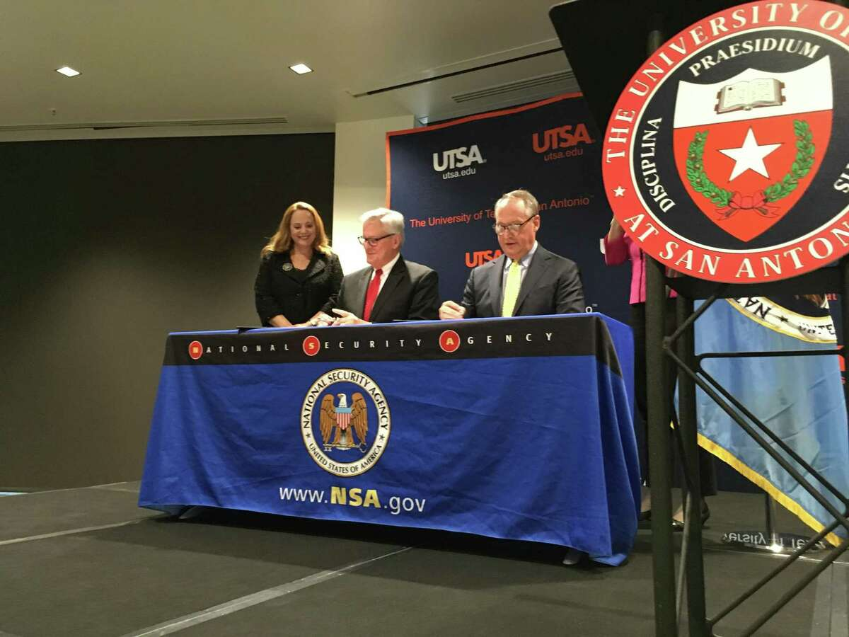 The University of Texas at San Antonio and the National Security Agency signed a formal agreement Monday, Nov. 26, 2018, tooffer accelerated degree plans in cyber security and modern languages.