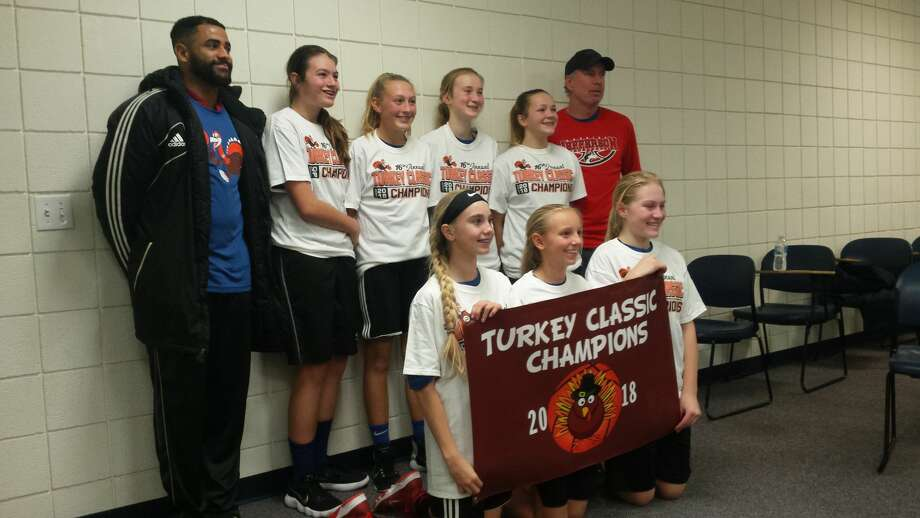Jefferson Middle School: winners of the 2018 Lancer Turkey Classic seventh-grade girls' division Photo: Fred Kelly/fred.kelly@mdn.net