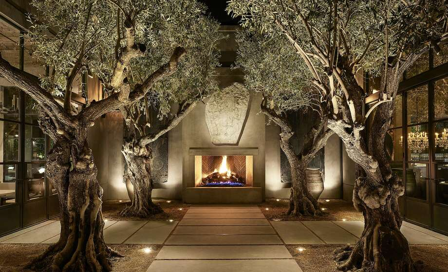 The garden courtyard at RH Yountville, a five-building compound that brings together food, wine, art and design. Photo: RH