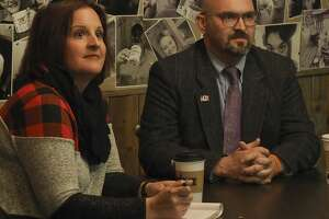 Heidi Kirk and John Trischitti, in a run-off for MISD district 5 school board seat, discuss education topics 11/26/18 during an MRT Facebook live forum at Brew St. Bakery. Tim Fischer/Reporter-Telegram
