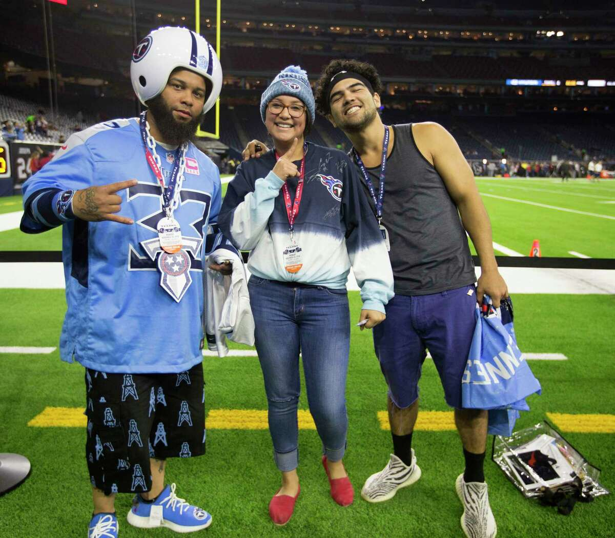 Tennessee Titans fans before the start of an NFL football game at NRG Stadium, Monday, Nov. 26, 2018, in Houston.