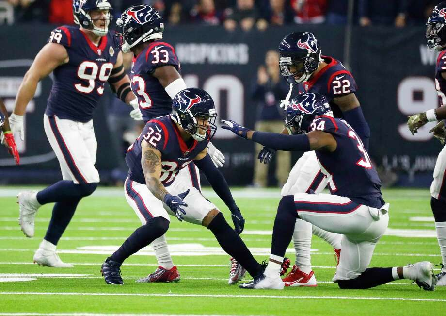 PHOTOS: Texans vs. Titans Houston Texans free safety Tyrann Mathieu (32) and defensive back Mike Tyson (34) celebrate a stop during the first quarter of an NFL football game at NRG Stadium, Monday, Nov. 26, 2018, in Houston. >>>See more game action from the Texans' eighth straight win Monday night ... Photo: Karen Warren, Staff Photographer / © 2018 Houston Chronicle