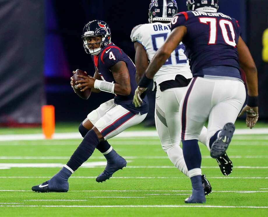 PHOTOS: John McClain's 2018 Week 13 predictions  Houston Texans quarterback Deshaun Watson (4) evades Tennessee Titans outside linebacker Brian Orakpo (98) during the first quarter of an NFL football game at NRG Stadium on Monday, Nov. 26, 2018, in Houston.  >>>See The General's picks for Week 13 of the NFL season ...  Photo: Brett Coomer, Staff Photographer / © 2018 Houston Chronicle