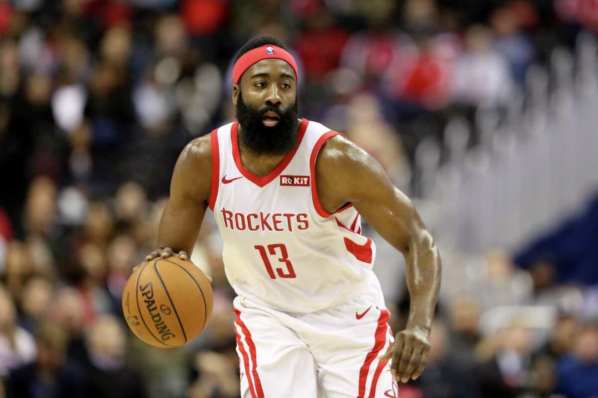 WASHINGTON, DC - NOVEMBER 26: James Harden #13 of the Houston Rockets dribbles the ball against the Washington Wizards in the first half at Capital One Arena on November 26, 2018 in Washington, DC. NOTE TO USER: User expressly acknowledges and agrees that, by downloading and or using this photograph, User is consenting to the terms and conditions of the Getty Images License Agreement.
