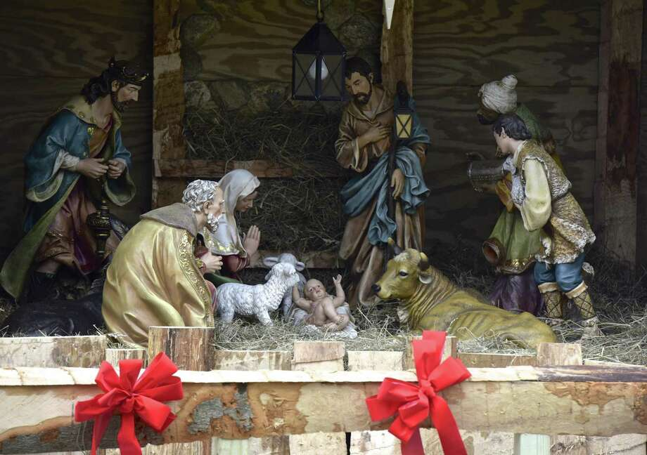 The nativity display in P.T. Barnum Square in downtown Bethel on Tuesday. Photo: H John Voorhees III / Hearst Connecticut Media / The News-Times