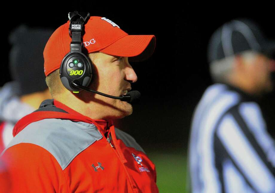 Fairfield Prep coach Keith Hellstern is seen on the sideline during football action against North Haven in Fairfield on Nov. 10. Photo: Christian Abraham / Hearst Connecticut Media / Connecticut Post