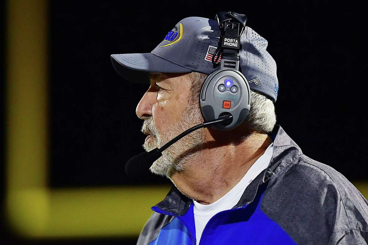 Brookfield head coach Rich Angarano on the sideline in the third quarter against Hillhouse Friday, September 14, 2018, at Bowen Field in New Haven. Brookfield won, 51-18.