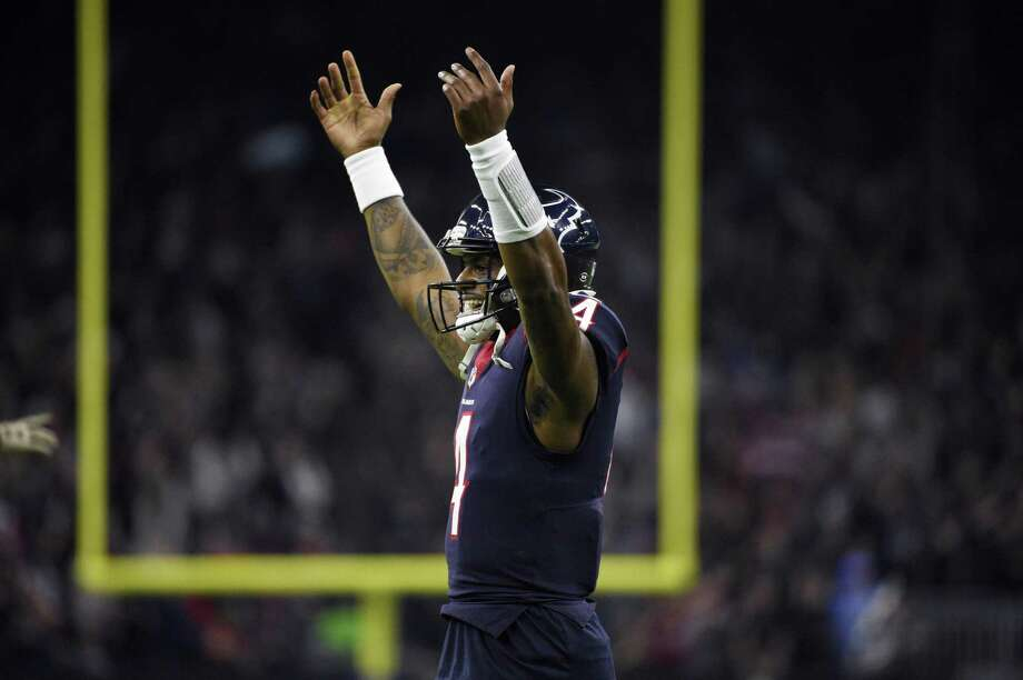 Houston Texans quarterback Deshaun Watson (4) celebrates a play during the first half of an NFL football game against the Tennessee Titans, Monday, Nov. 26, 2018, in Houston. (AP Photo/Eric Christian Smith) Photo: Eric Christian Smith, FRE / Associated Press / Copyright 2018 The Associated Press. All rights reserved.