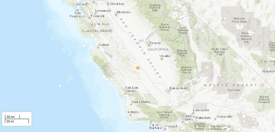 A magnitude-4.1 earthquake 10.5 miles east-southeast of Coalinga, Calif. Photo: USGS