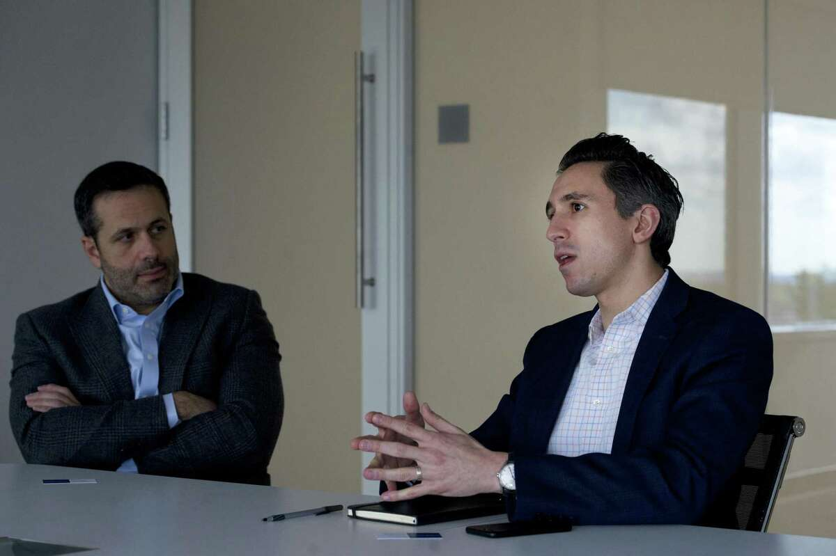 Loxo Oncology Chief Business Officer Jacob Van Naarden, right, and President and Chief Executive Officer Josh Bilenker discuss the company's cancer drugs during an interview at the company's headquarters at 281 Tresser Blvd., in downtown Stamford, Conn., on Oct. 24, 2018.