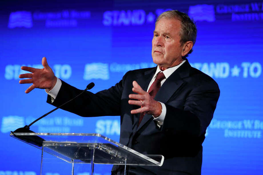 "In this June 23, 2017 file photo, former President George W. Bush speaks during ""Stand-To,"" a summit held by the George W. Bush Institute focused on veteran transition, in Washington. The Abraham Lincoln Presidential Library Foundation has recently announced that 43rd President of the United States George W. Bush will receive the 2019 Lincoln Leadership Prize. Photo: AP Photo/Jacquelyn Martin"