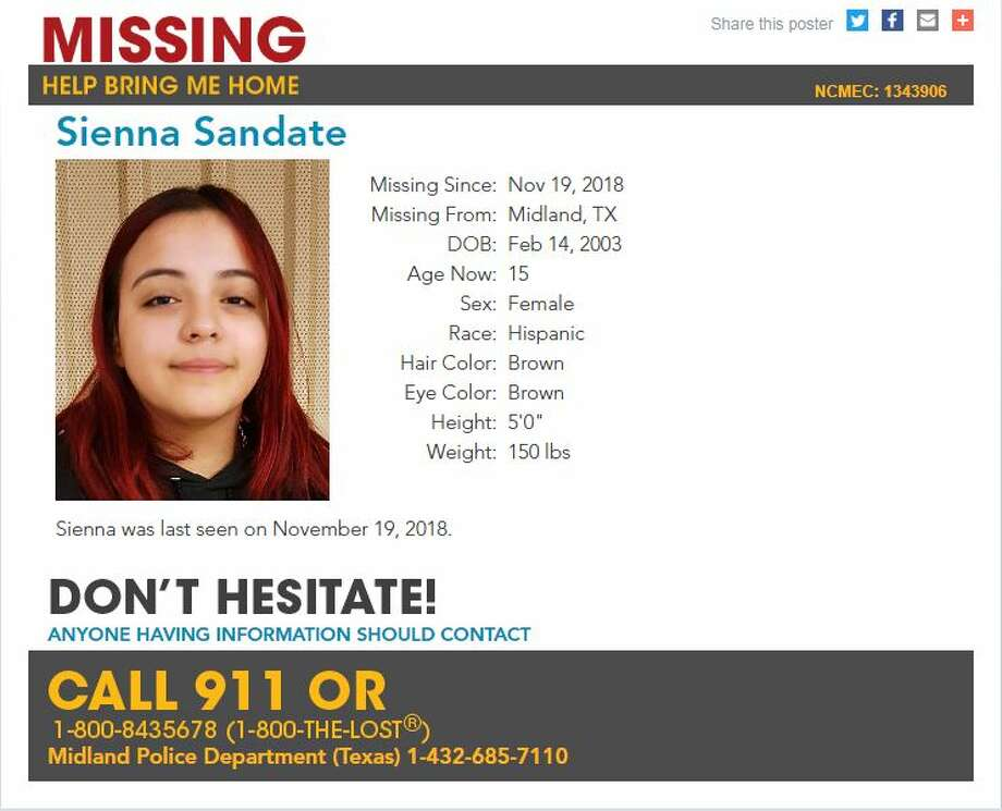 Sienna Sandate has been missing since Nov. 19, according tothe center.She is described as Hispanic, 5 feet tall and 150 pounds. She has brown eyes and brown hair.  Photo: National Center For Missing And Exploited Children