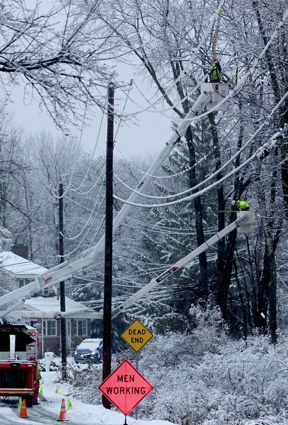 Workers from the Lewis Tree Service remove branches that become hazards to power lines on Maxwell Road during the snowy weather Tuesday Nov. 27, 2018 in Loudonville, N.Y. (Skip Dickstein/Times Union)