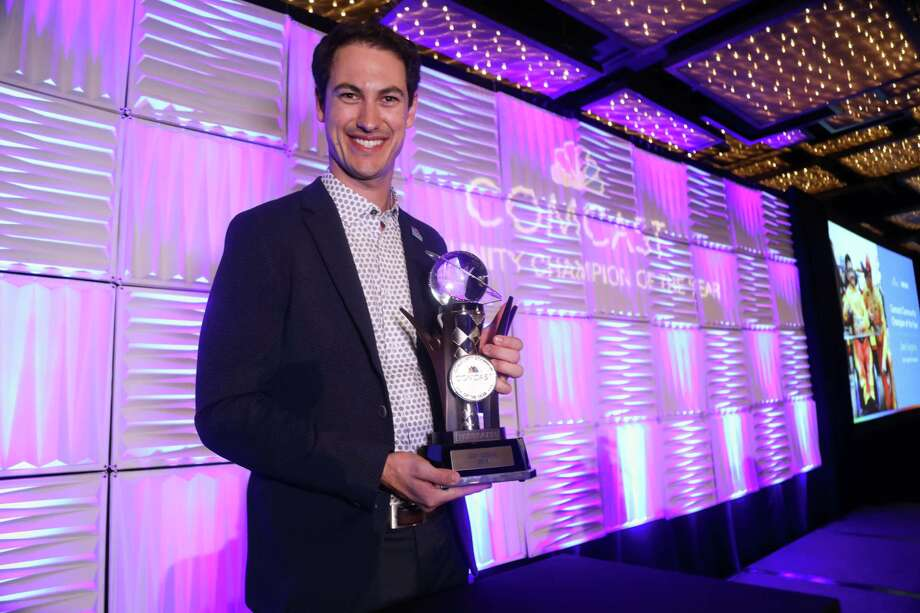 NASCAR Cup Series championship winner, Portland native Joey Logano, also won the 2018 Comcast Community Champion of the Year award. Photo: Photo Courtesy Comcast / 2018 Copyright Scott Hunter / NASCAR