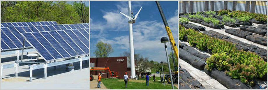 SIUE solar panels, windmill installation and rooftop garden. Photo: For The Telegraph