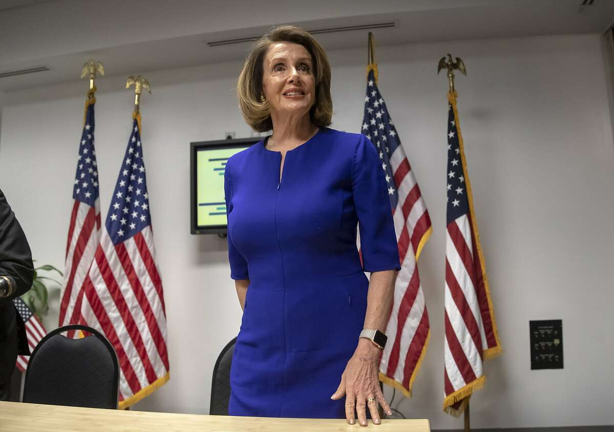 In this photo from Tuesday, Nov. 6, 2018, House Democratic Leader Nancy Pelosi of California, stands following an Election Day news conference at the Democratic National Committee headquarters in Washington. With the Democrats capturing the House majority, Pelosi has faced an effort by some critics in her party seeking to block her from the speakership. (AP Photo/J. Scott Applewhite)