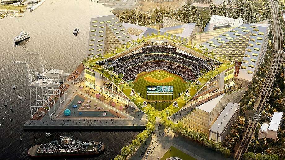 Ilustration of proposed new Oakland A's ballpark at Howard Terminal featuring a rooftop park. Photo: Matier & Ross / Oakland Athletics/ Bjarke Ingels Group