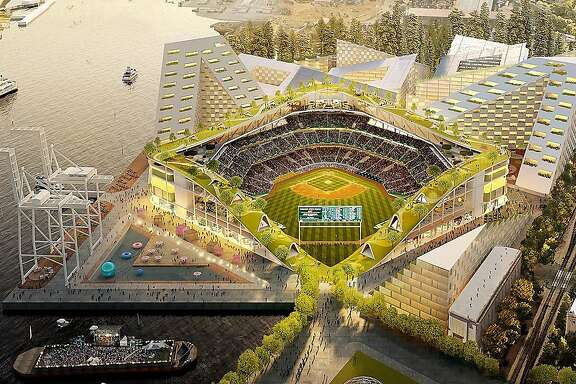 Ilustration of proposed new Oakland A's ballpark at Howard Terminal featuring a rooftop park.