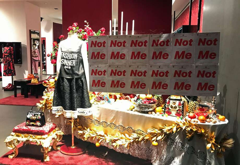 This Nov. 21, 2018, photo shows a protest banner on the window of a Dolce & Gabbana store in Shanghai. Prominent Chinese and Chinese American San Franciscans are expressing their dismay over the D&G incidents, even if recent events are not exactly a surprise to fashion followers. Photo: Edward Gu / AFP / Getty Images