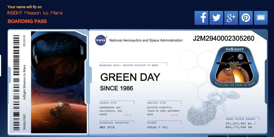 A microchip in NASA's InSight Mars Lander bears the East Bay punk band Green Day's name and date of origin. Photo: NASA