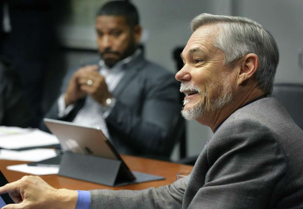 """City Council member Clayton Perry, right, asks San Antonio Police Chief William McManus questions about details of the cite-and-release program during a presentation to the City Council's public safety committee on Nov. 27, 2018. At left is committee chair Councilman William """"Cruz"""" Shaw. Perry expressed some reservations about certain misdemeanors that would be eligible for a citation, rather than arrest."""