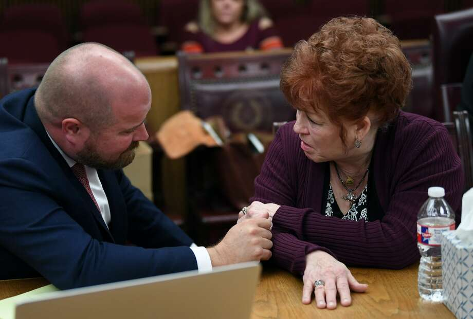 Elizabeth Taylor talks Tuesday to her attorney Ryan Gertz during her trial for the shooting death of Larry Atwood in 2017.  Photo taken Tuesday, 11/27/18 Photo: Guiseppe Barranco/The Enterprise