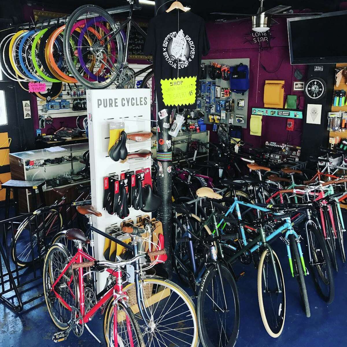 Bottom Bracket Bicycle Shop is located at 1603 North Colorado Street in the Five Points neighborhood. It was previously located in Southtown.