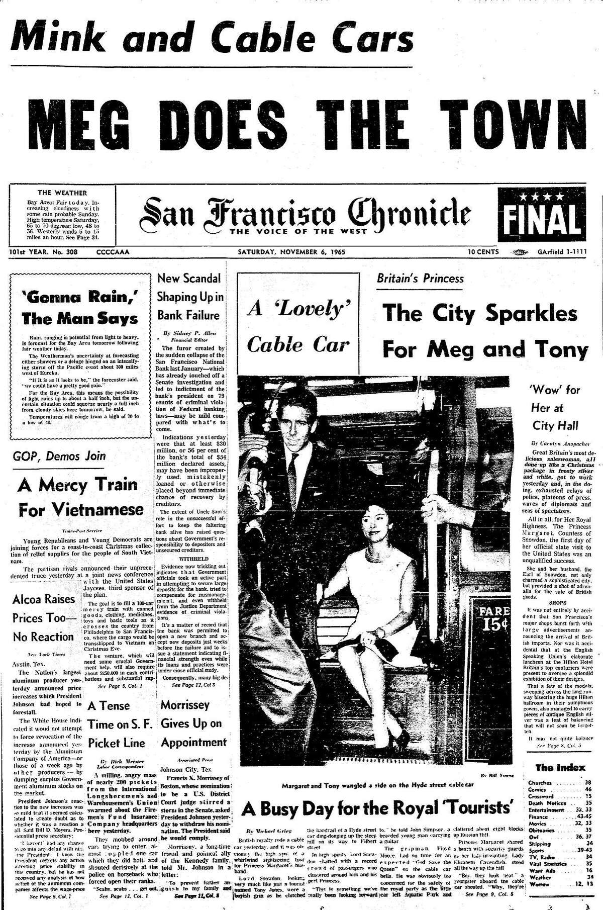 Chronicle front page for November 6, 1965 as Princess Margaret and husband Lord Snowdon hit some of the tourist spots in San Francisco, November 5, 1965