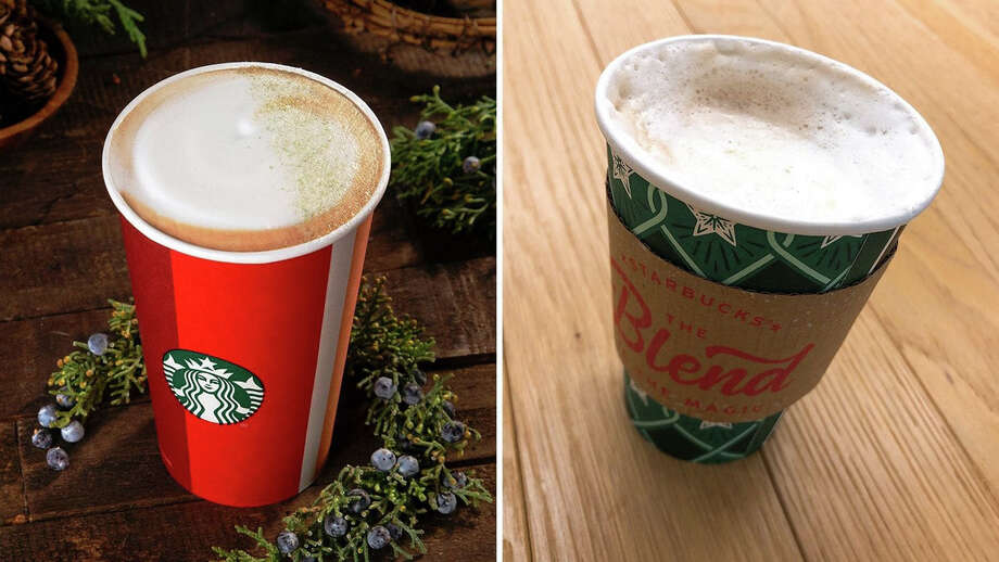 The debut of Starbucks's new juniper latte raises a lot of questions. Photo: Starbucks (left); Maura Judkis (right). / The Washington Post