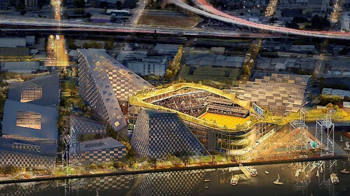 Night view of proposed 34,000-seat Oakland A's ballpark at Howard Terminal
