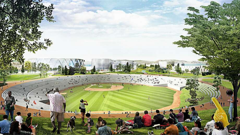 The A's also have a proposal for the Coliseum that would turn the stadium into a bigger community park. Photo: Illustrations By Oakland A's / Bjarke Ingels Group