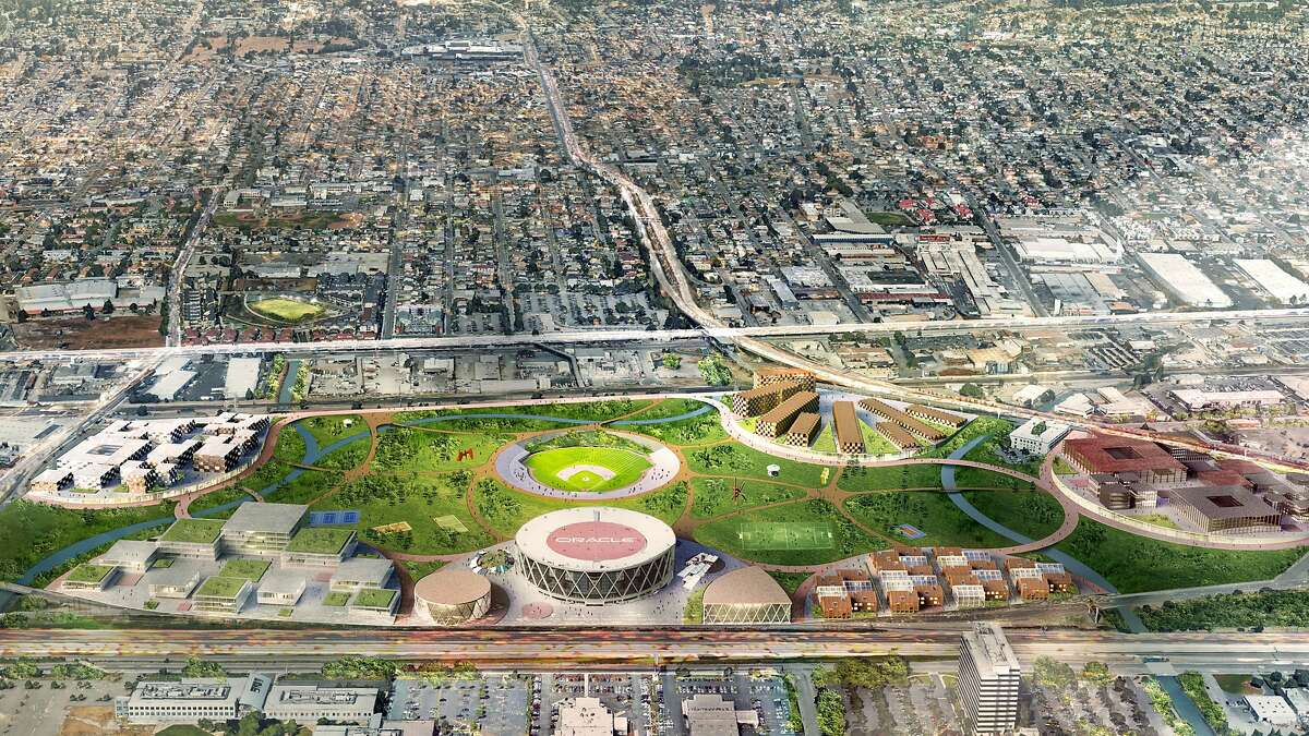 Oakland A's vision for 111-acre Coliseum site includes making over the team's stadium as part of a community park, plus developing housing, a tech hub and other projects on the perimeter of the property. The team also proposes keeping Oracle arena as a concert venue.