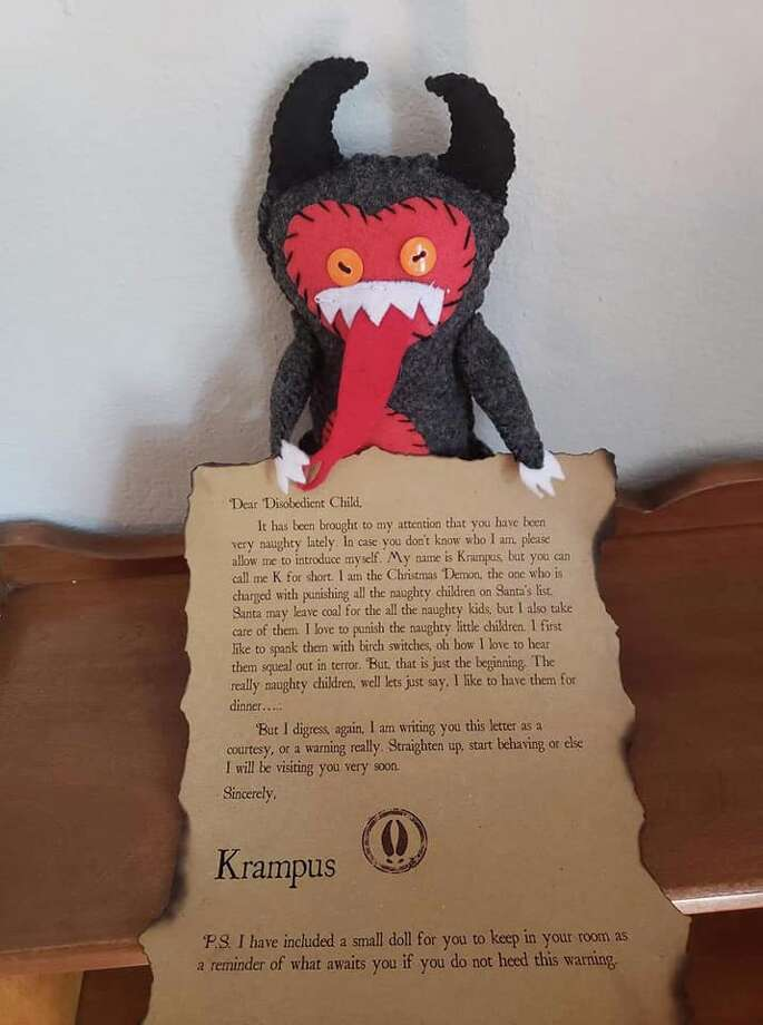 Children misbehaving? A Texas group is offering personalized notes from Krampus to threaten them into obedience. Photo: Courtesy Of Haunted Texas Paranormal
