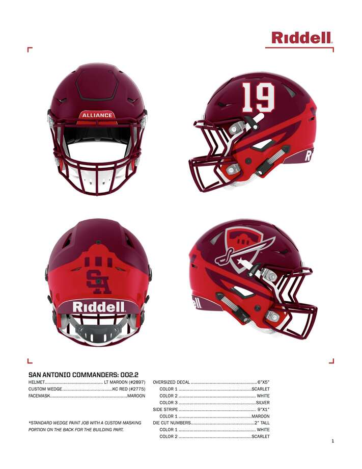 The San Antonio Commanders' helmets for the inaugural season of the Alliance of American Football. Photo: Alliance Of American Football