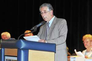 East Haven Mayor Joe Maturo delivers the State of the Town address at East Haven High School in 2014.