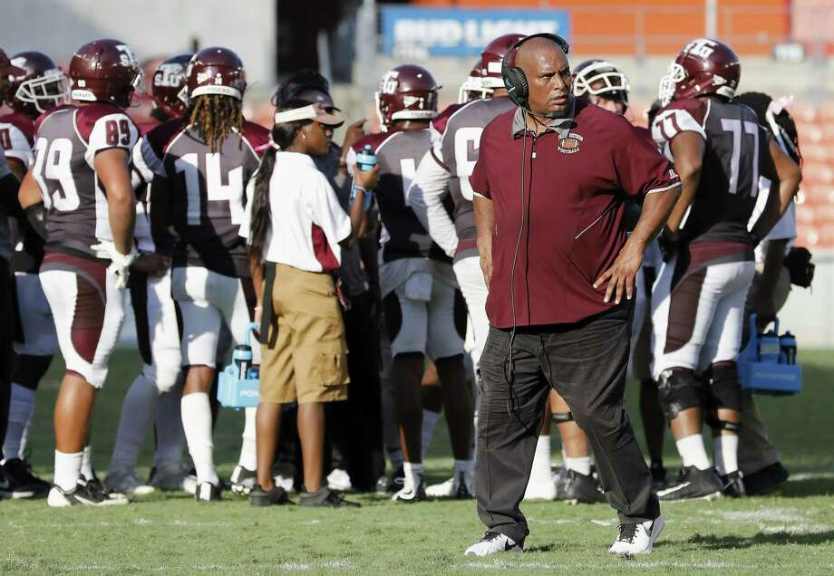 Texas Southern Tigers head coach Michael Haywood walks to the sideline during a timeout in the fourth quarter during the NCAA football game between the Alabama State Hornets and the Texas Southern Tigers at BBVA Compass Stadium in Houston, TX on Saturday, October 14, 2017. Photo: Tim Warner, Freelance / For The Chronicle / Houston Chronicle