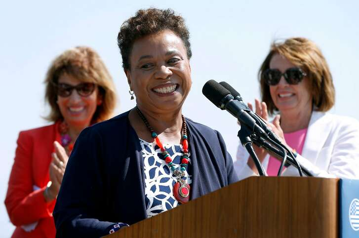 """Rep. Barbara Lee (center) appears at a news conference with Reps. Jackie Speier and Nancy Pelosi to launch a Democratic initiative, """"A Better Deal"""" women's economic agenda, in San Francisco, Calif. on Tuesday, Aug. 22, 2017."""